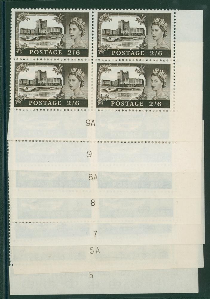 1963 Bradbury wmk crowns 2/6d castle Plate blocks of four UM'