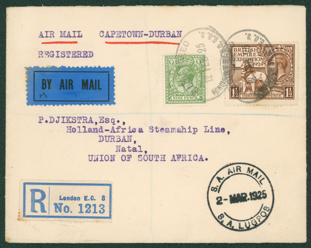 1925 Capetown to Durban flight cover