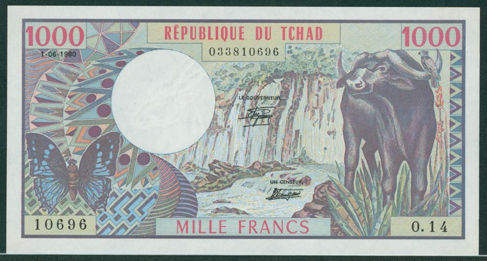 Chad 1980 1000 Francs