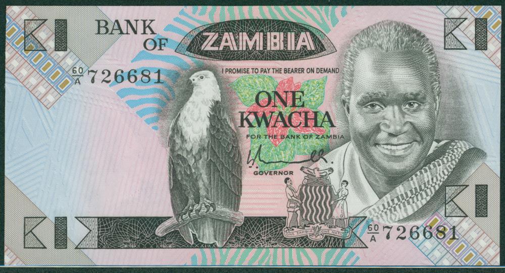 Zambia 1980-88 1 Kwacha Pres Kaunda