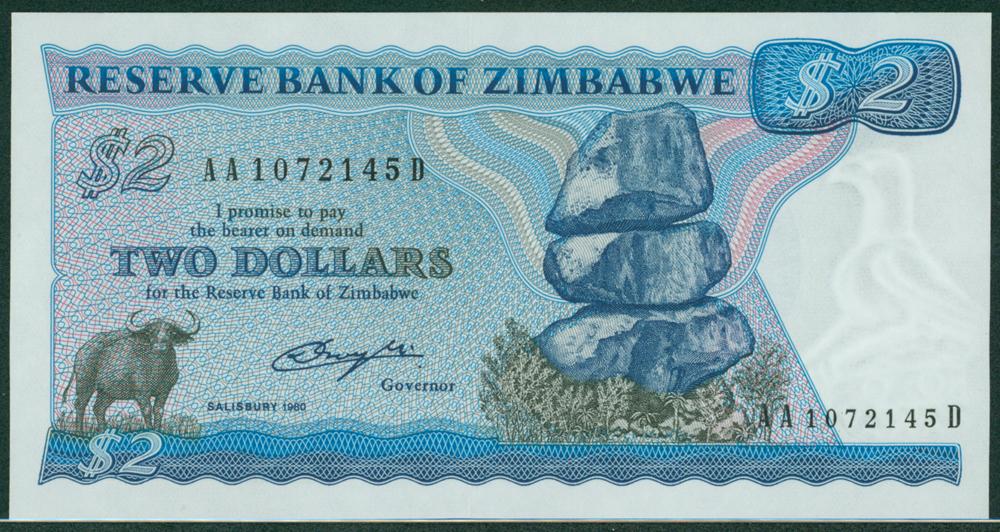 Zimbabwe 1980 2 Dollars