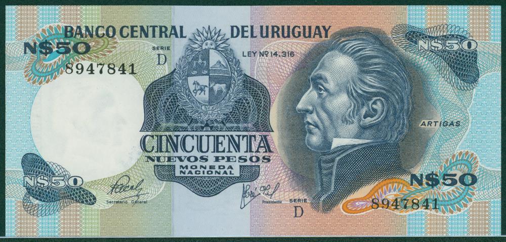 Uruguay 1981 50 Nuevos Pesos J. G. Artigal