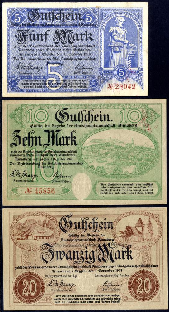 Germany - Notgeld 1918 Annaberg 5 - 20 Marks