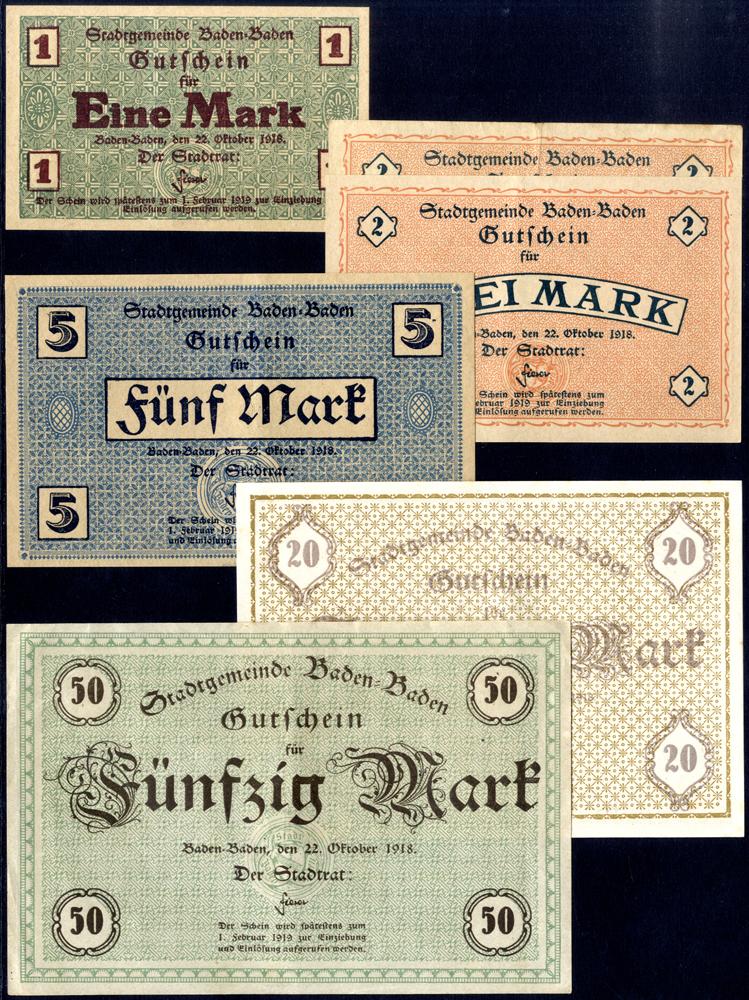 Germany - Notgeld 1918 Baden-Baden 1-50 Marks