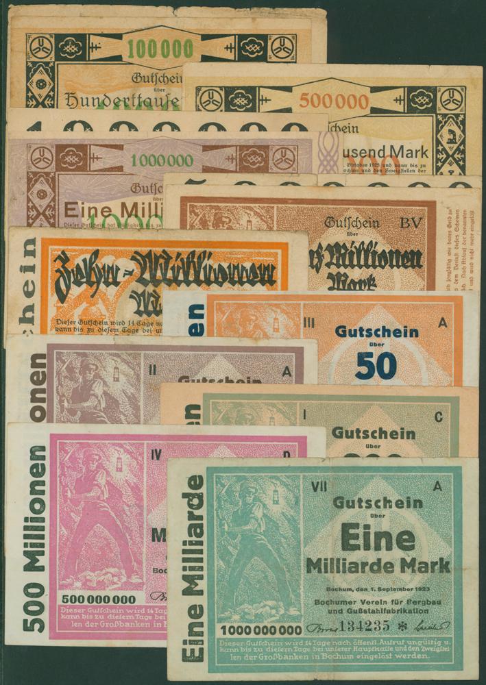 Germany - Notgeld 1923 Bochum 100 Thousand - 1 Billion Marks