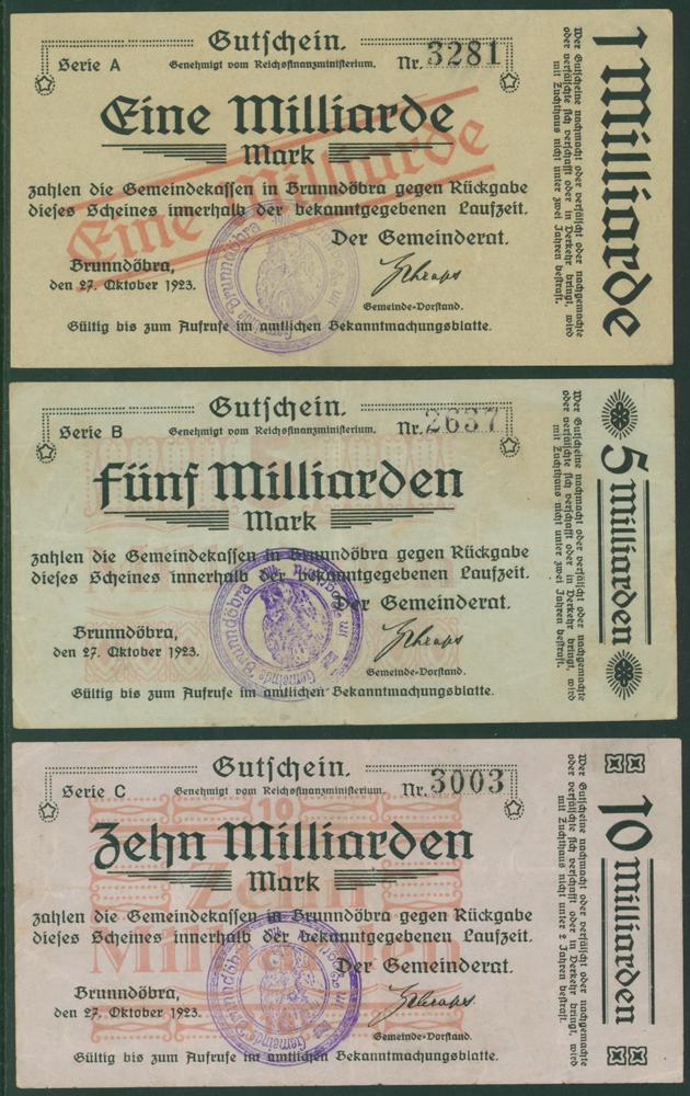 Germany - Notgeld 1923 Brunndobra 1 Billion - 10 Billion Marks