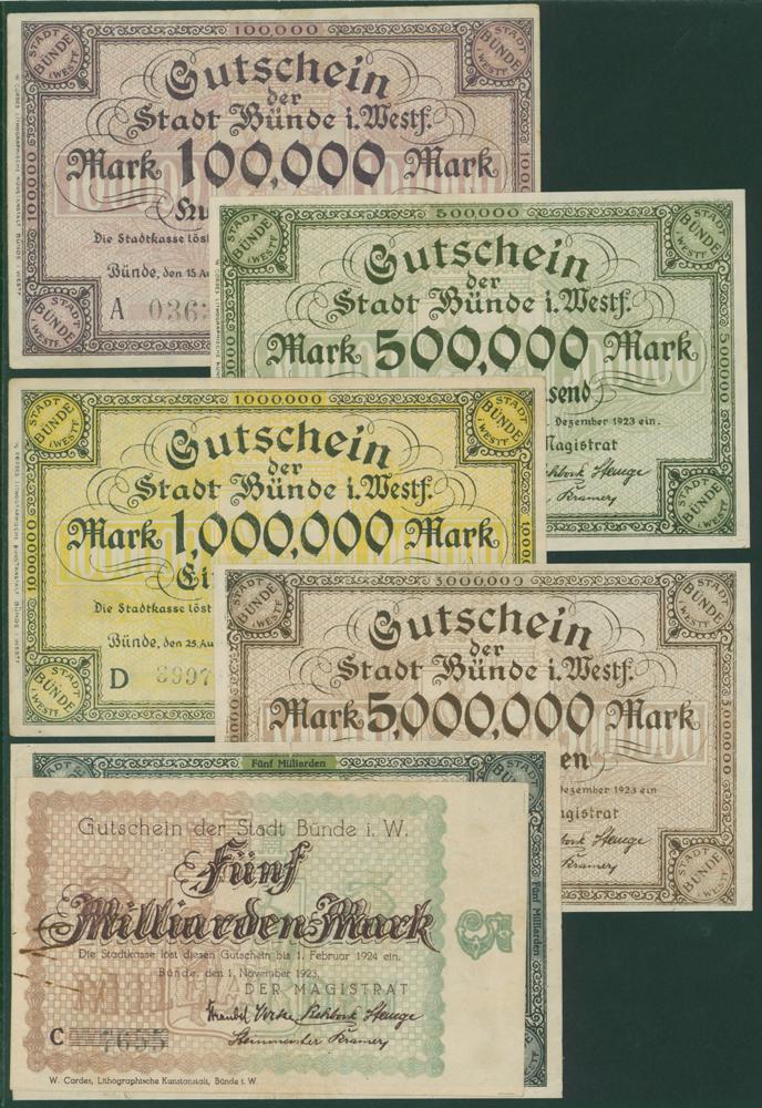 Germany - Notgeld 1923 Bunde 100 Thousand - 5 Billion Marks