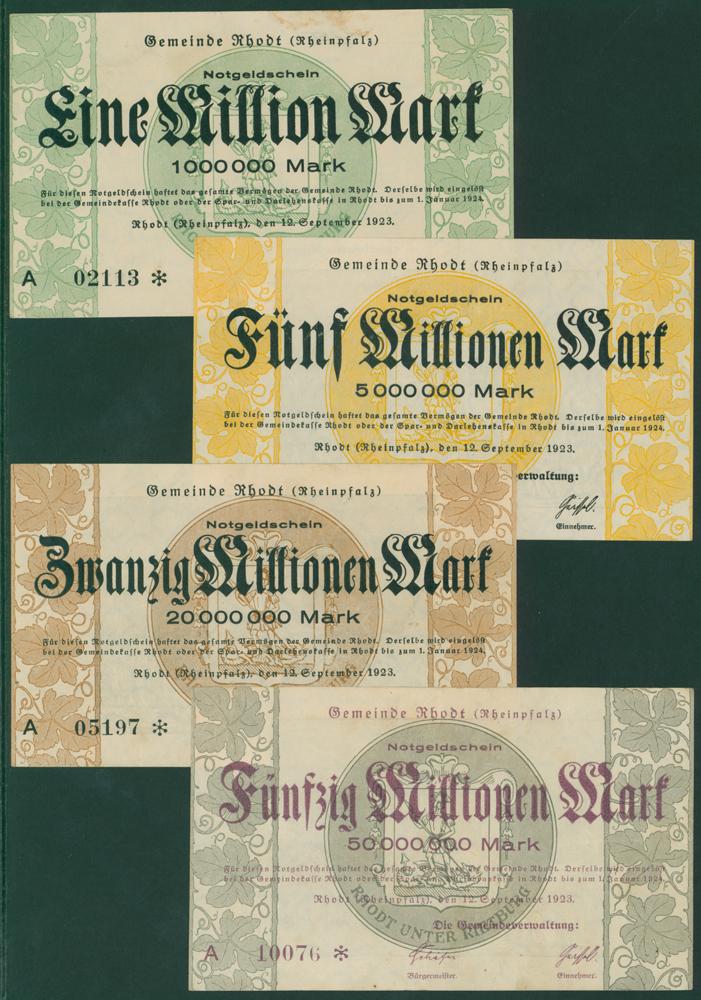 Germany - Notgeld 1923 Rhodt 1 Million - 50 Million Marks
