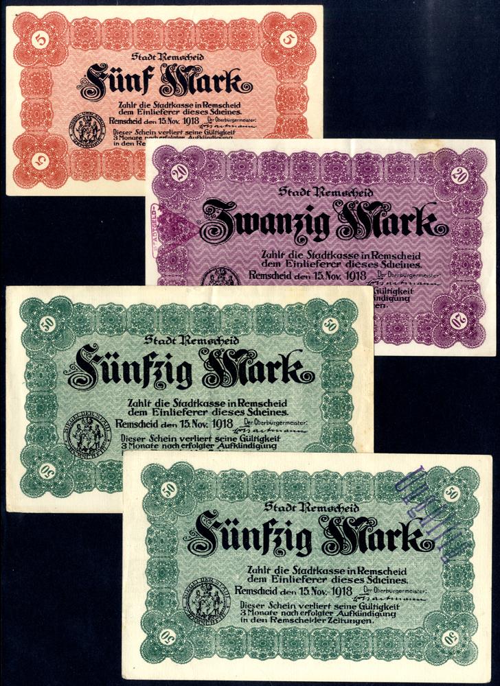 Germany - Notgeld 1918 Remscheid 5 - 50 Marks