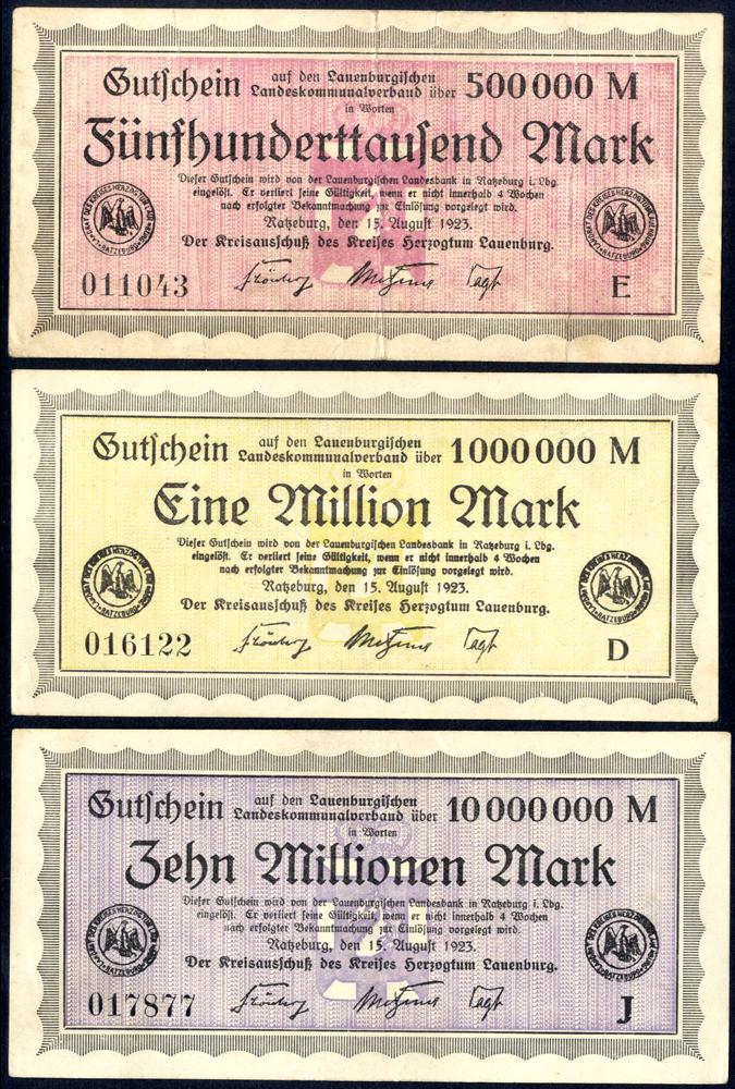 Germany - Notgeld 1923 Ratzeburg 500 Thousand - 10 Million Marks