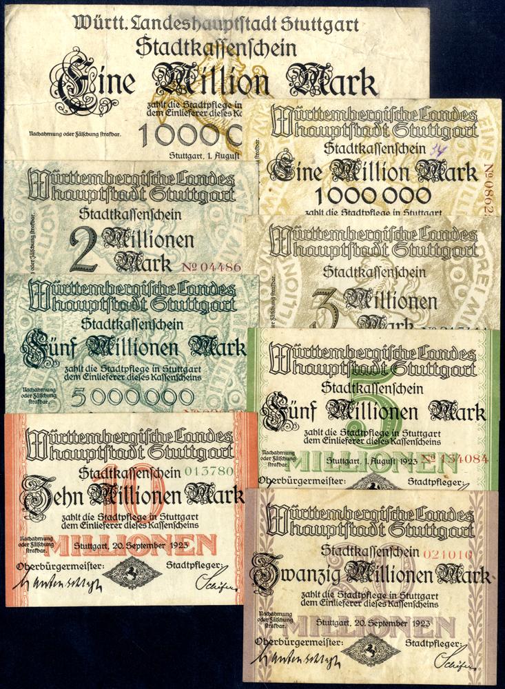 Germany - Notgeld 1923 Stuttgart 1 Million - 20 Million Marks