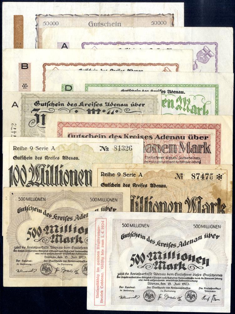 Germany - Notgeld 1923 Adenau 50 Thousand - 500 Million Marks