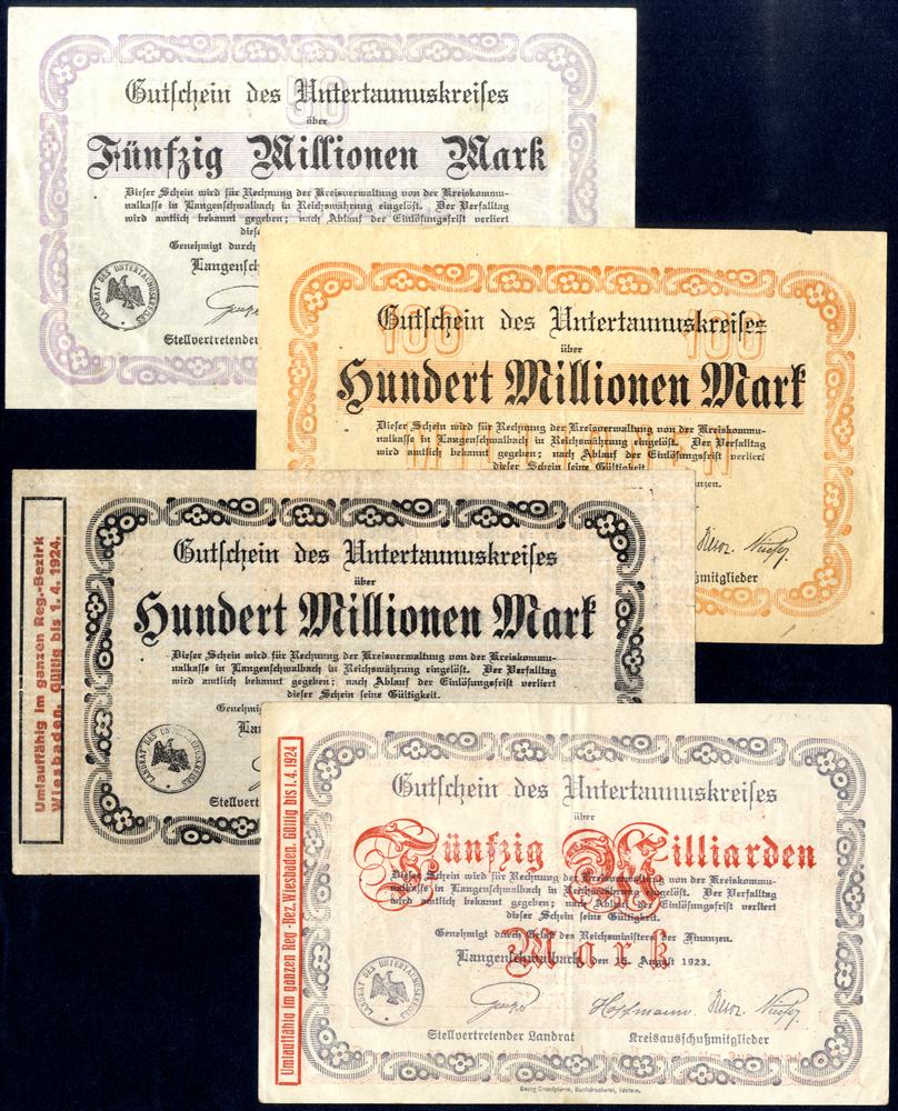 Germany - Notgeld 1923 Langen-Schwalbach 50 Million - 50 Billion Marks
