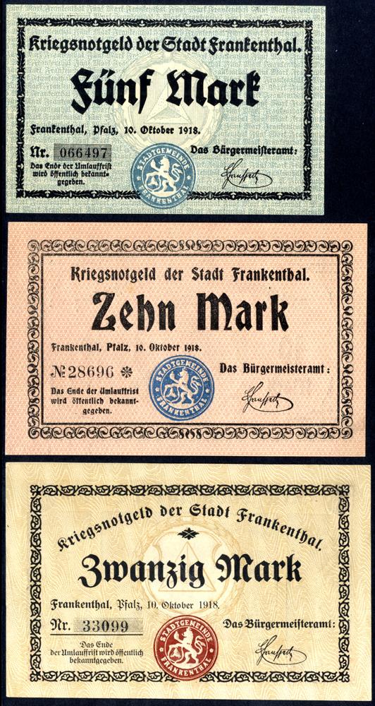 Germany - Notgeld 1918 Frankenthal 5 - 20 Marks