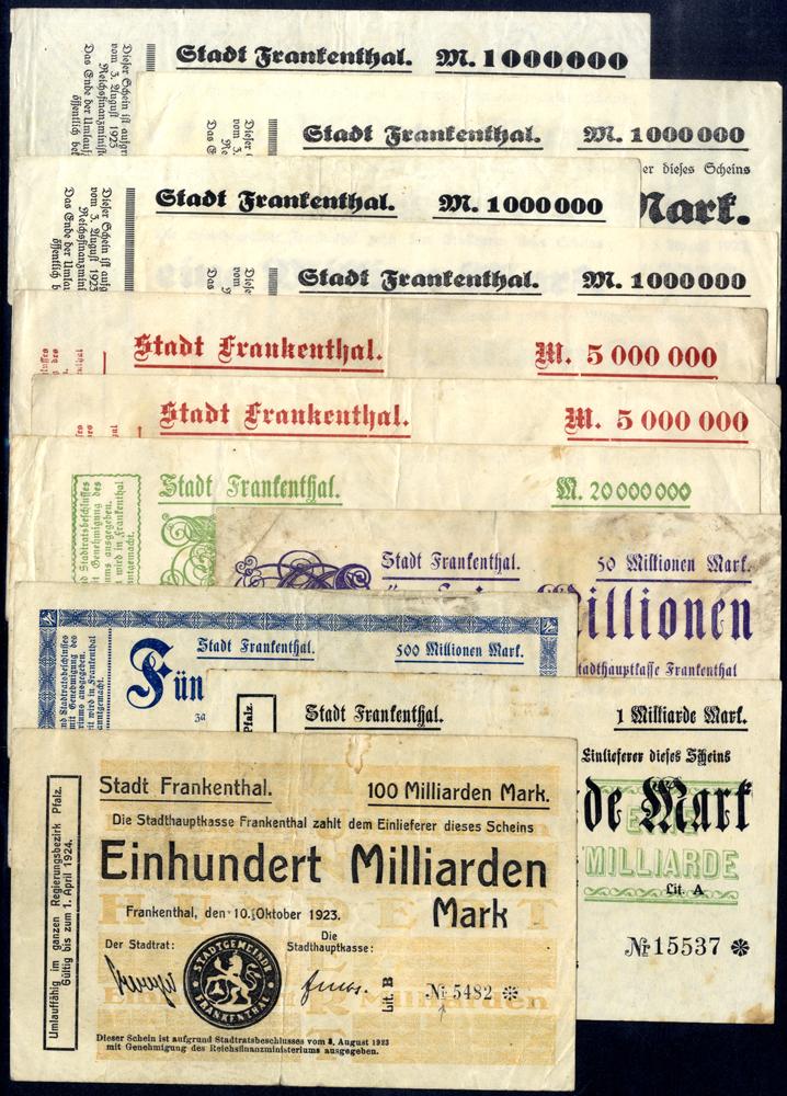 Germany - Notgeld 1923 Frankenthal 1 Million - 100 Billion Marks