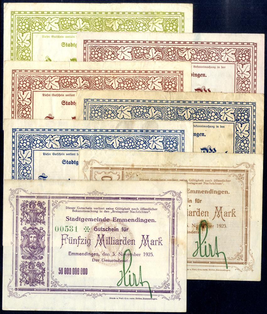 Germany - Notgeld 1923 Emmendingen 5 Billion - 50 Billion Marks