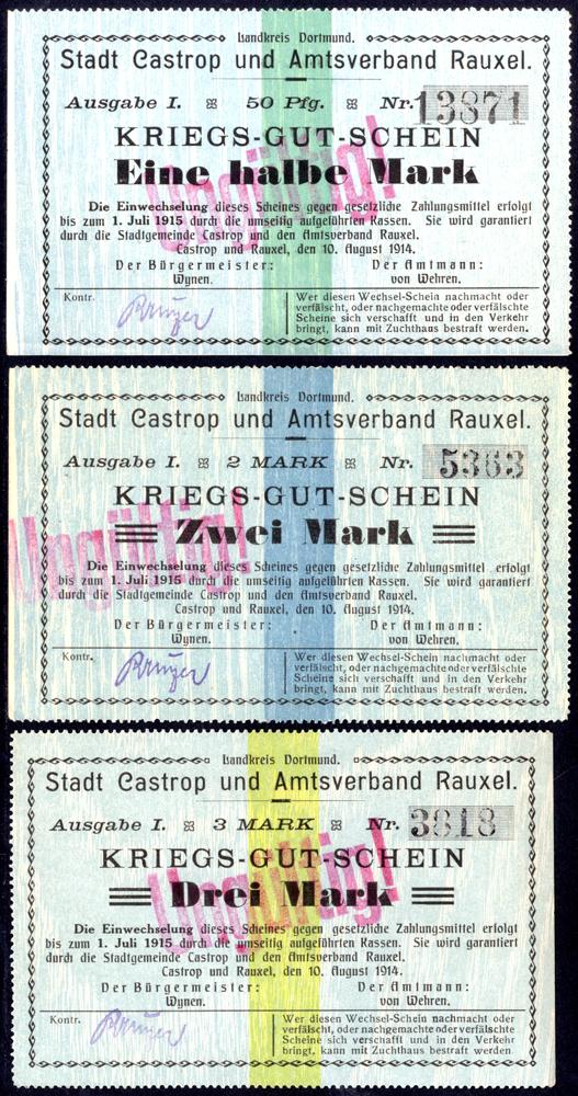 Germany - Notgeld 1914 Castrop & Rauxel ½ - 3 Marks