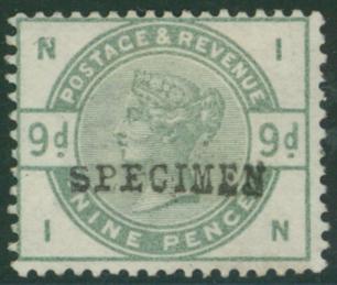 1883 9d dull green optd SPECIMEN Type 9