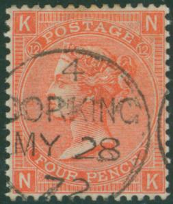 1870 wmk large garter 4d vermilion NK Plate 12