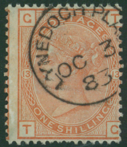 1881 wmk Imperial Crown 1s orange brown lett TG