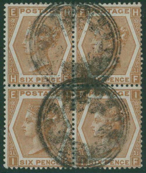 1872-73 Wmk Spray 6d chestnut HE-IF Pl.11 VFU block of four