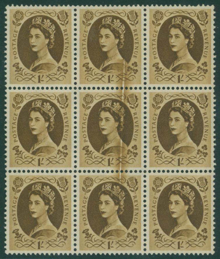 1958 Multiple Crowns 1s bistre brown UM BLOCK OF NINE
