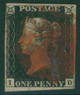 1840 1d black Plate 4 ID