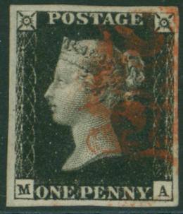1840 1d black Plate 5 MA