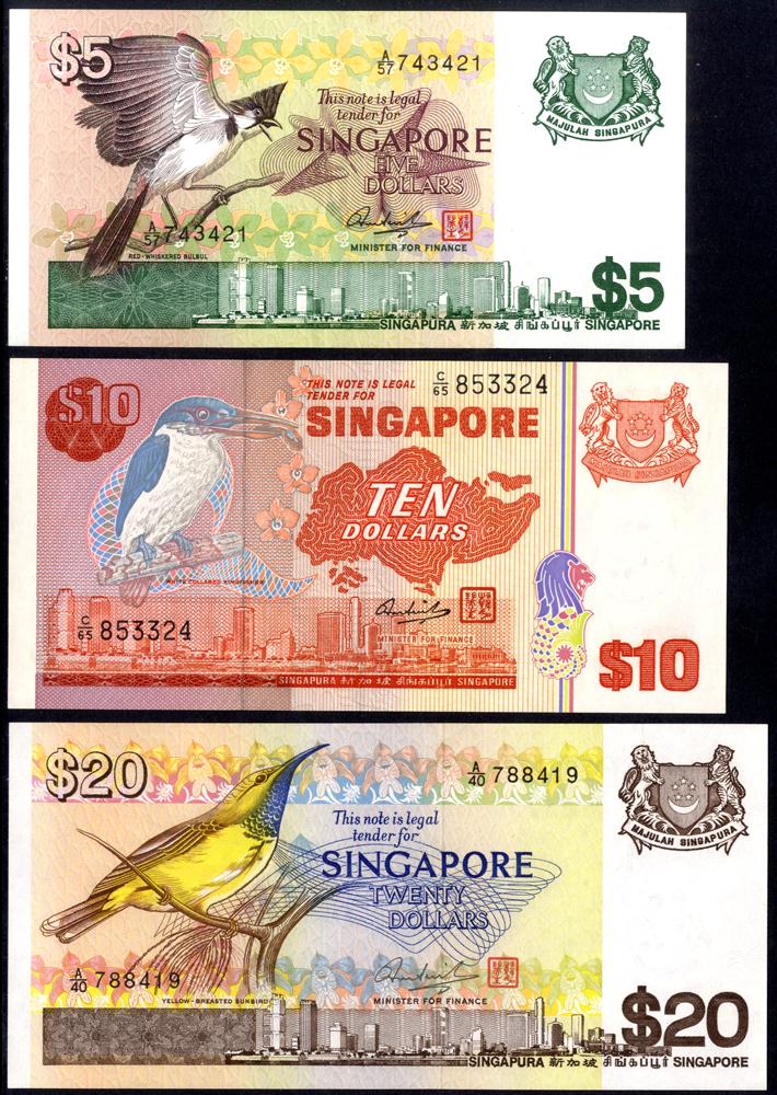 Singapore 1976-79 5, 10 & 20 Dollars