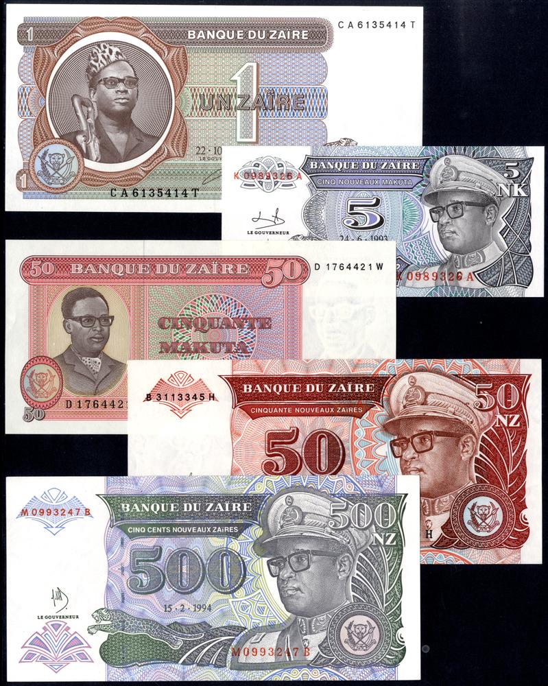 Zaire 1979-93 50 Makuta, 1 Zaire and 5, 50 & 500 Nouveaux Zaires