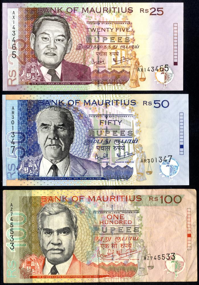 Mauritius 2001-03 25, 50 & 100 Rupees