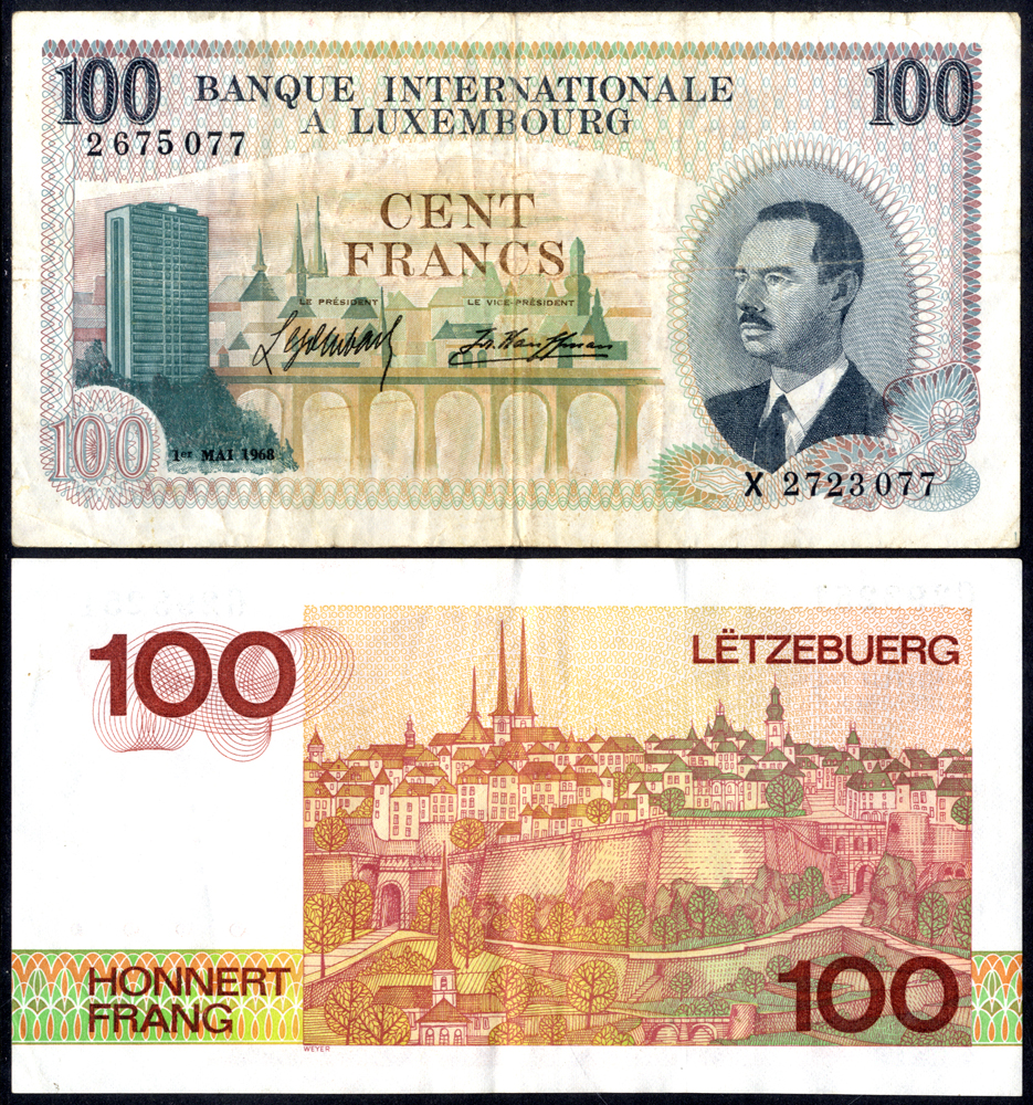 Luxembourg 1968-80 100 Francs