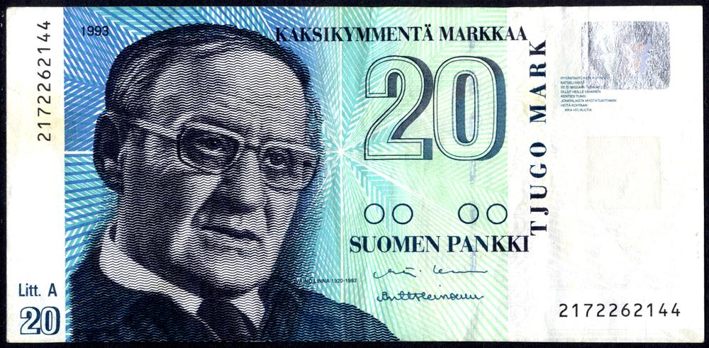 Finland 1993 20 Markkaa, Vaino Linna