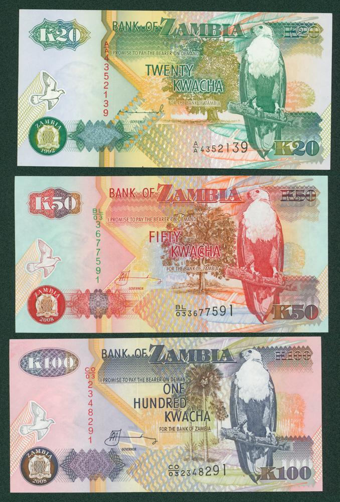Zambia 1992 20, 50 & 100 Kwacha