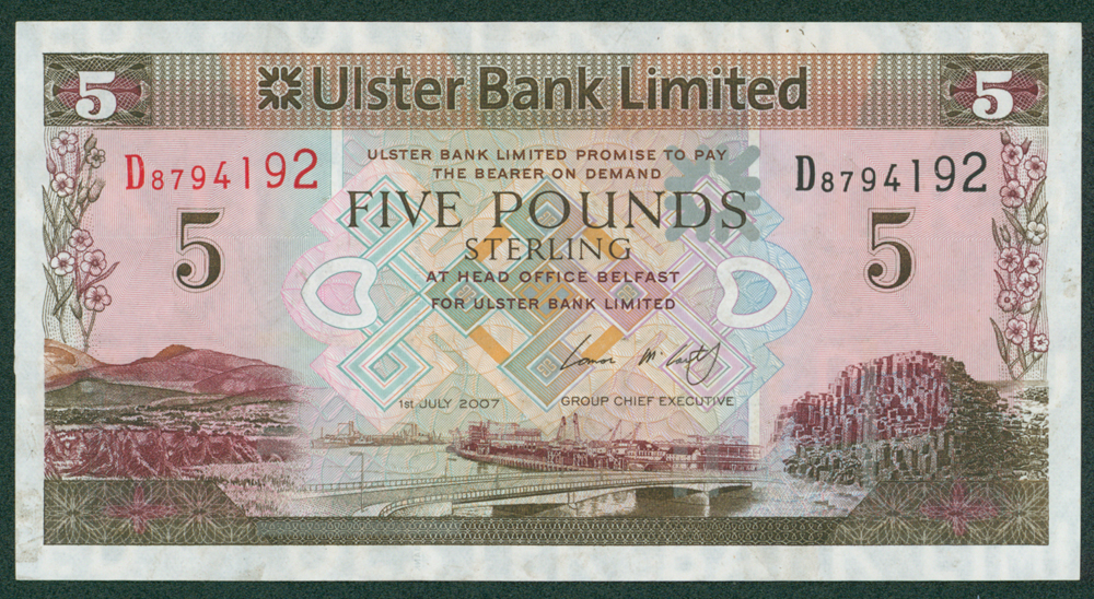 Northern Ireland 2007 Ulster Bank Ltd £5