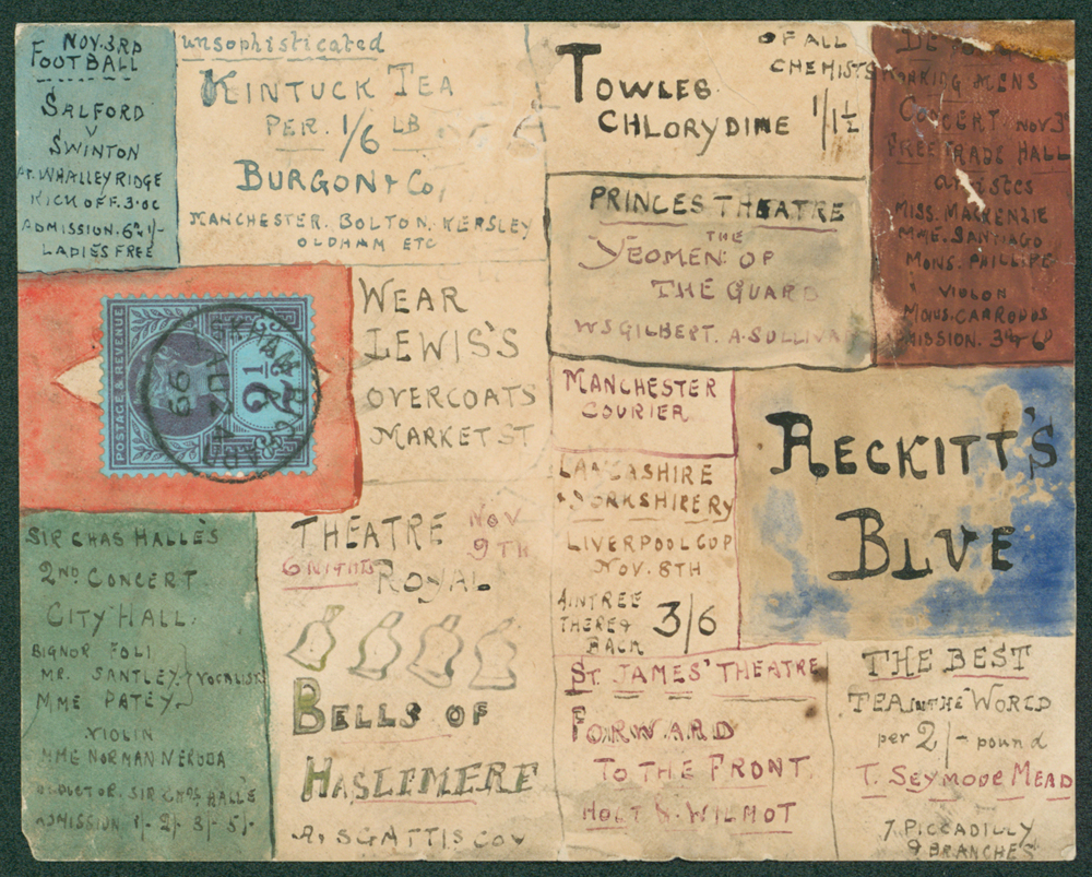 1899 piece card bearing a series of adveritsements