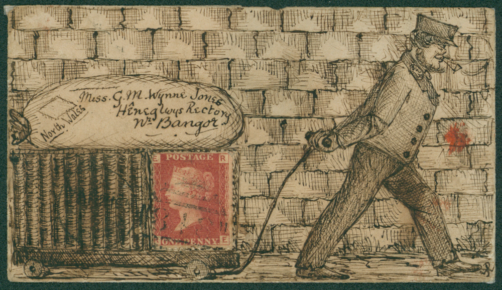 1866 envelope with all over pen & ink hand illustration of a man pulling a trolley