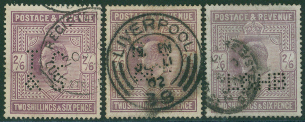 PERFINS - 2/6d Edwards (3) FINE USED