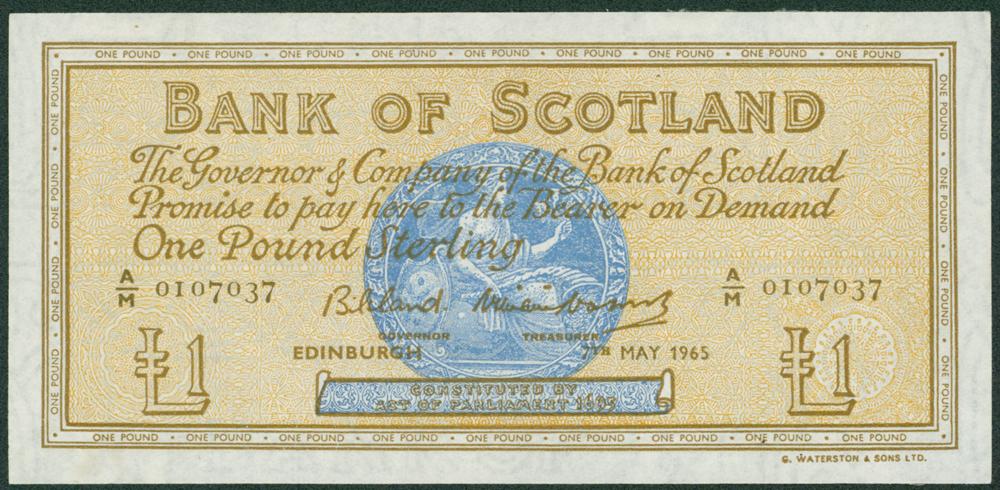Bank of Scotland 1965 (7th May) £1