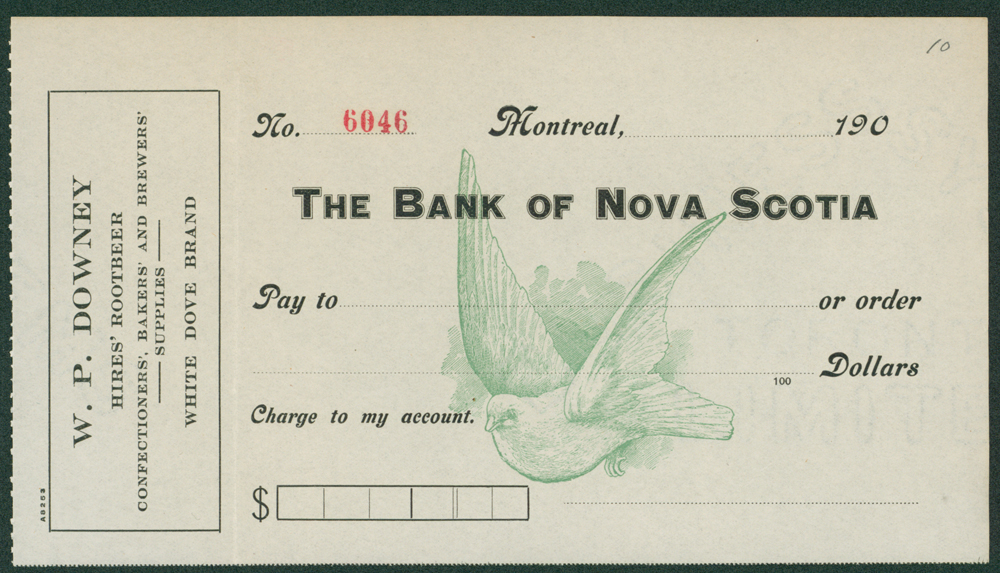 Canada - The Bank of Nova Scotia W. P. DOWNEY illustrated blank cheque