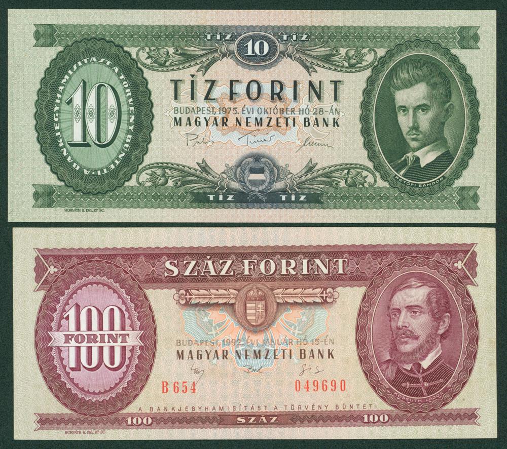 Hungary 1975 10 Forint & 1992 100 Forint