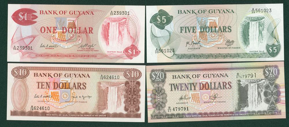 Guyana 1983 $1, 1992 $5, 1989 $10 & 1996 $20