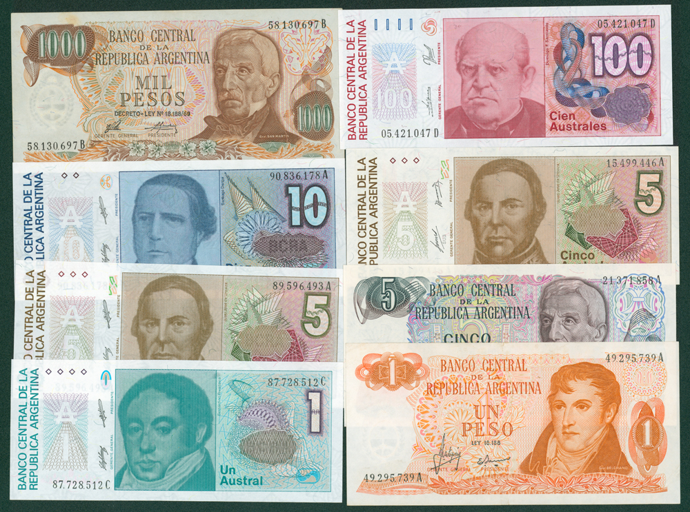 Argentina 1970's-80's Eight different notes