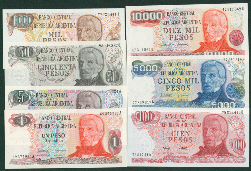 Argentina 1970's-80's Seven different notes