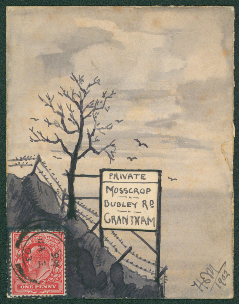 1903 Hand painted envelope sent to Grantham
