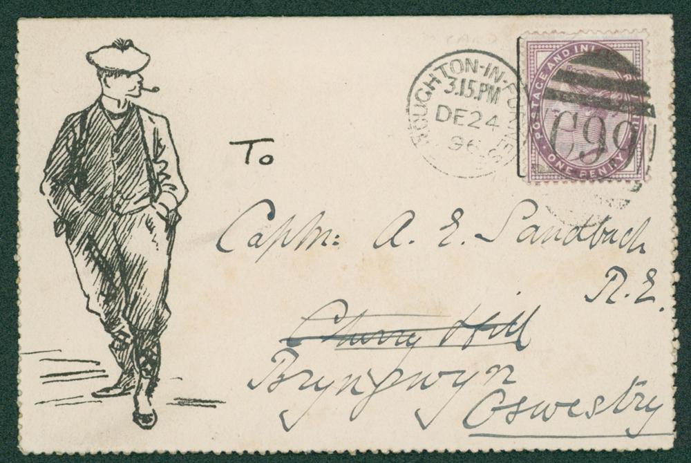 1896 Folded christmas greetings card