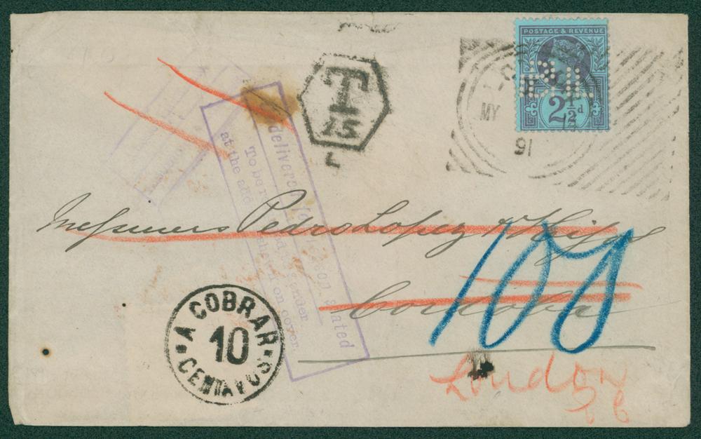 1891 envelope to Cordoba, Spain
