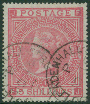 1867 wmk Maltese Cross 5s rose