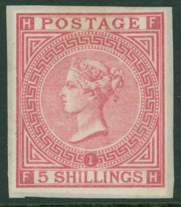 1867 5s deep rose Plate 1