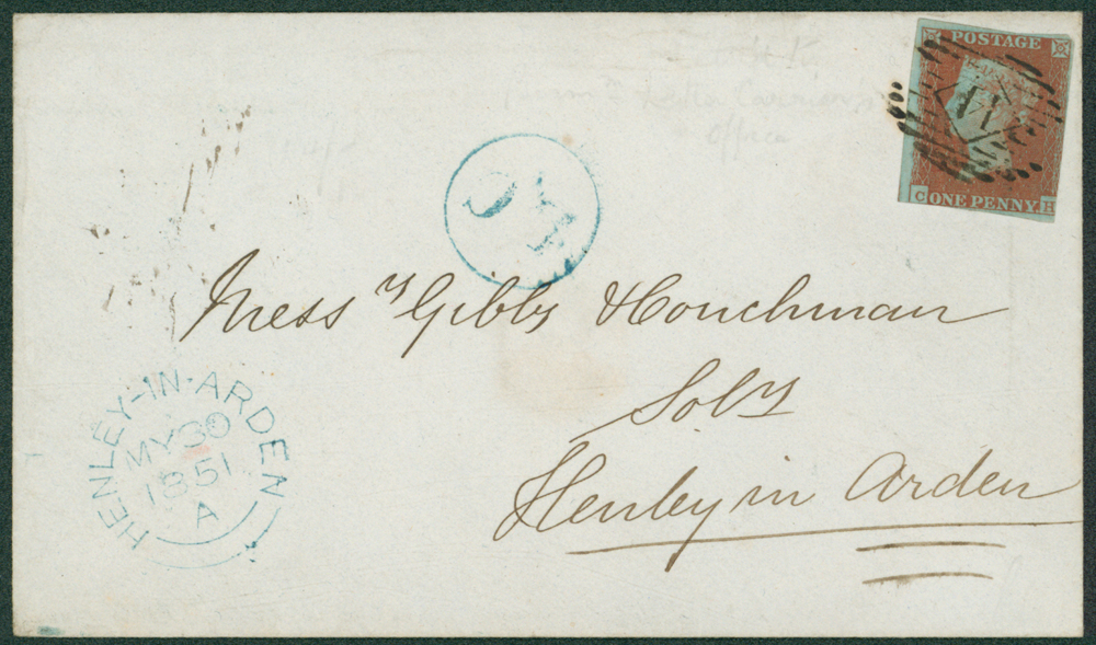 1841 envelope from London to Henley-in-Arden